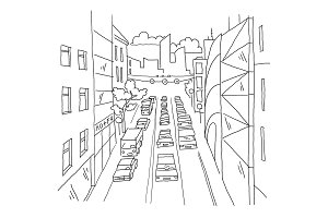 City street traffic jam linear perspective sketch road view. Cars end buildings. Hand drawn vector stock line illustration.
