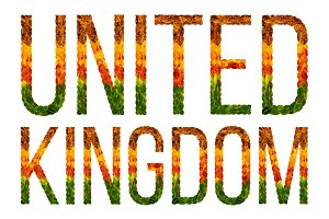 word united kingdom country is written with leaves on a white insulated background, a banner for printing, a creative developing country colored leaves united kingdom