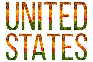 word united states country is written with leaves on a white insulated background, a banner for printing, a creative developing country colored leaves united states