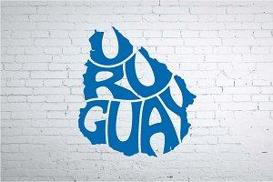 Uruguay vector word in map shape