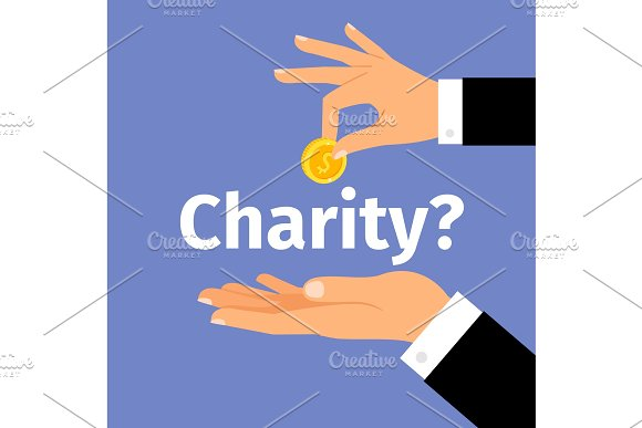 Motivation charity poster with money