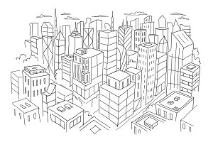 Big city view from the top sketch. Hand drawn vector stock line illustration. Building architecture landscape.