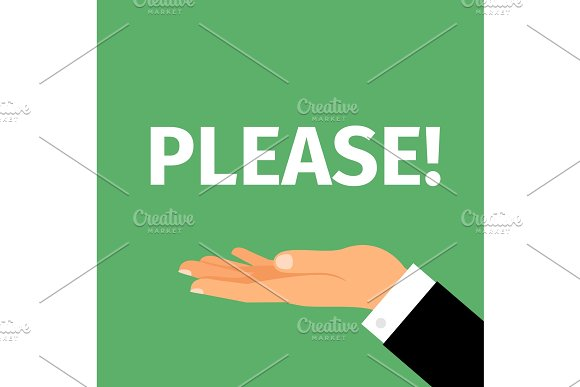 Please motivation poster with hand