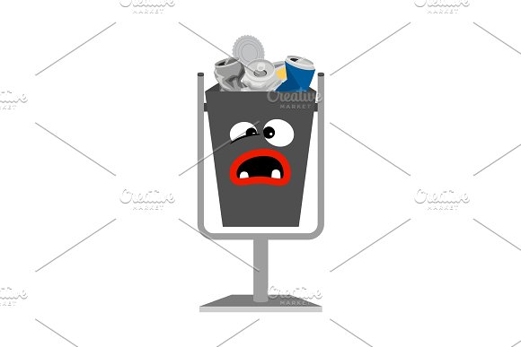 Garbage can with metal trash