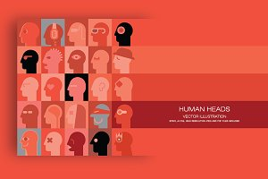 Human Heads vector artwork