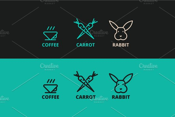 three vector logos of rabbit, carrot