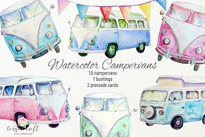 Watercolor Campervan Leisure Vehicle