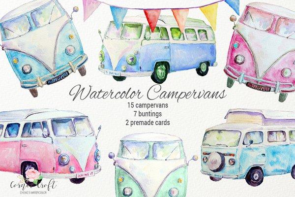 Watercolor Campervan Leisure Vehicl…