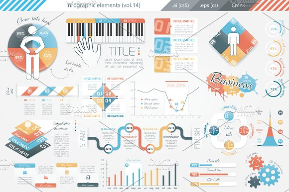 Infographic Elements (v14) in Presentation Templates