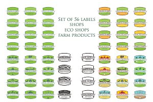 Set of illustration farm labels