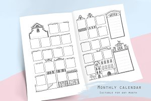 Undated monthly calendar template
