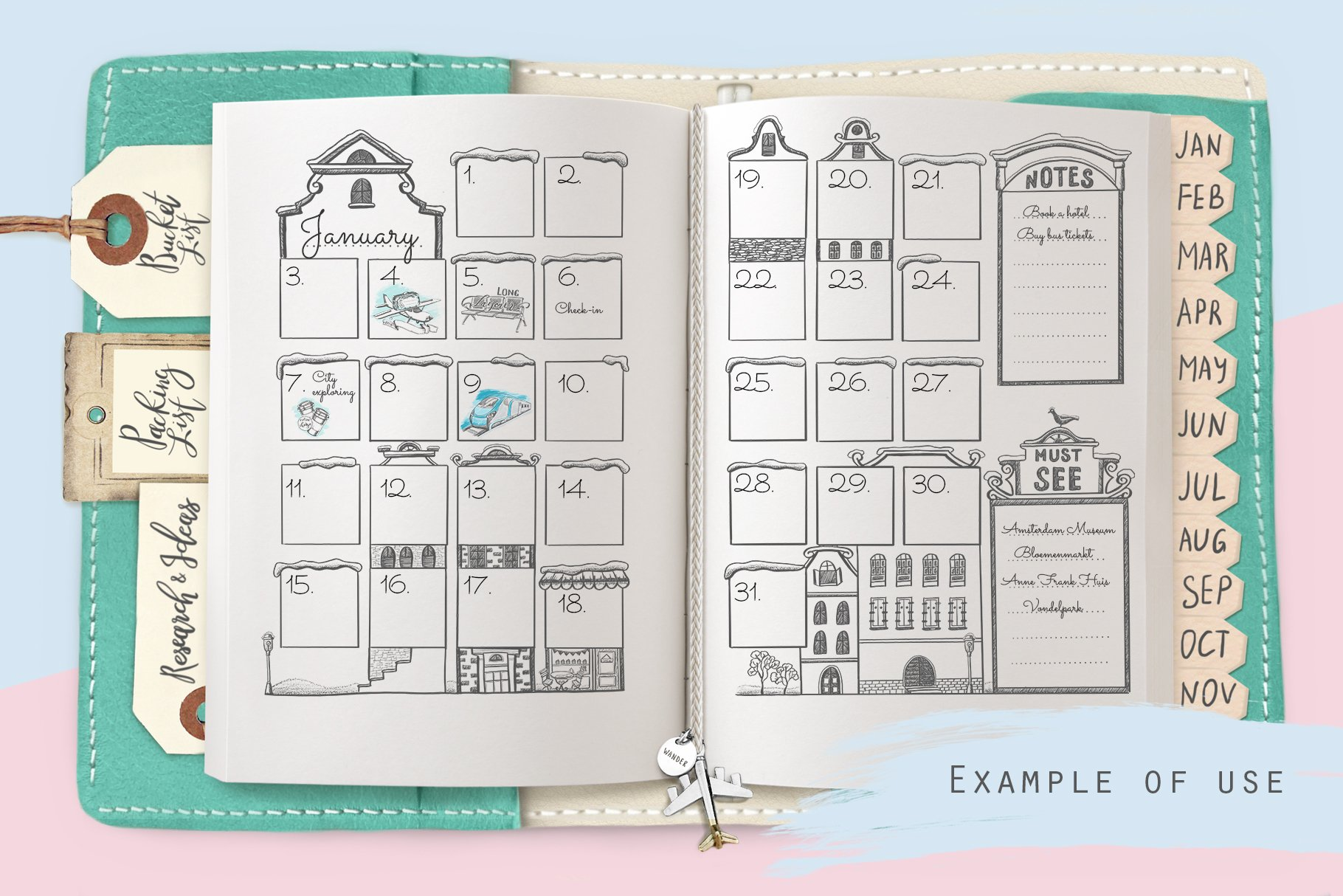 Undated monthly calendar template - Stationery - 2