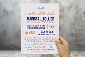 Coral navy Word wedding invitation