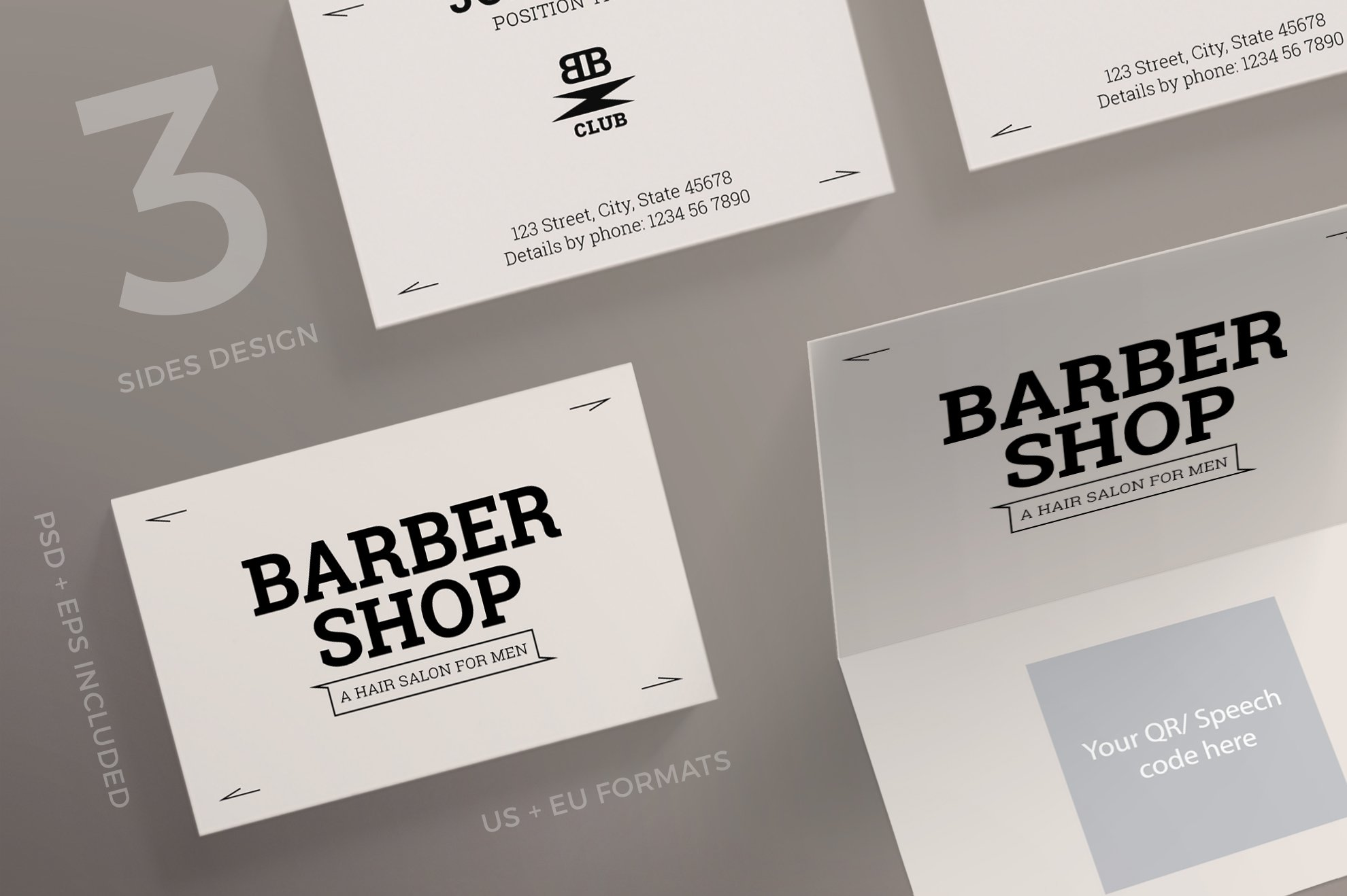 Business Cards | Barber Shop ~ Business Card Templates ~ Creative Market