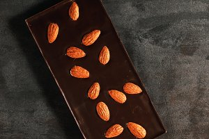 The dark chocolate with almonds