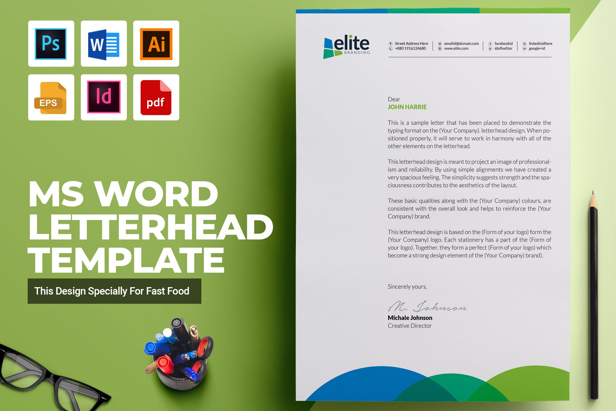 MS Word Letterhead Template ~ Stationery Templates ~ Creative Market