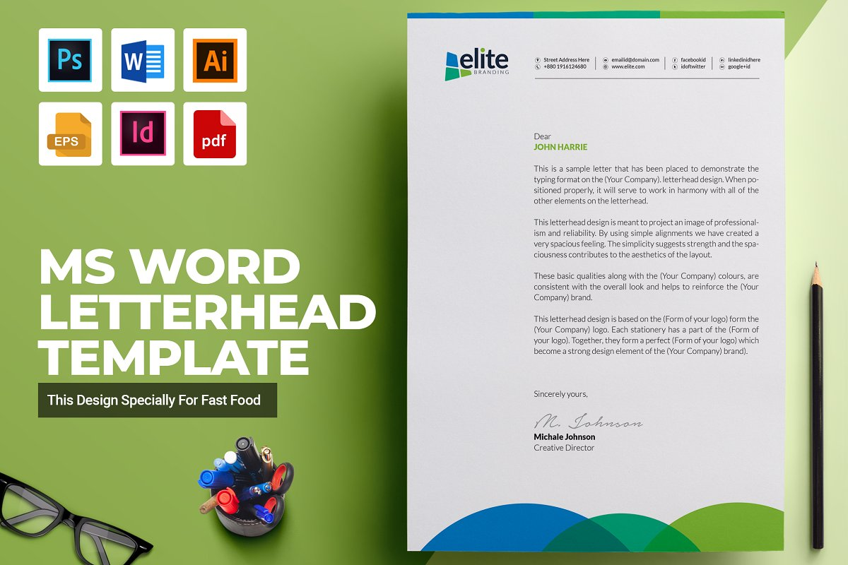 Ms Word Letterhead Template Stationery Templates