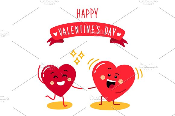 cute holiday valentines day card with funny cartoon character of emoji hearts objects - Cartoon Valentine Pictures