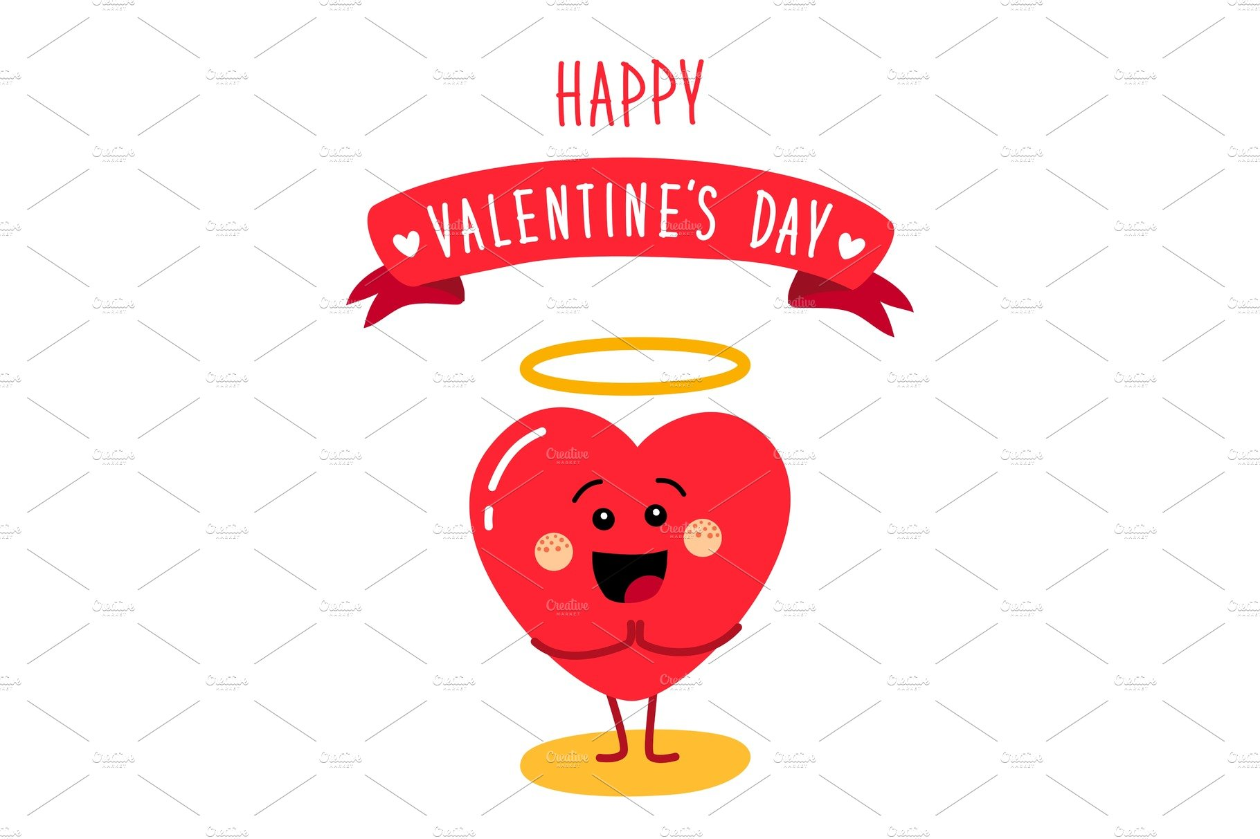 Cartoon Characters Valentines Day : Cute holiday valentines day card with funny cartoon