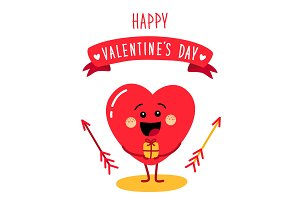 Cute holiday Valentines day card with funny cartoon character of emoji hearts