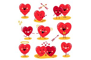 Cute set of holiday Valentines day funny cartoon character of emoji hearts