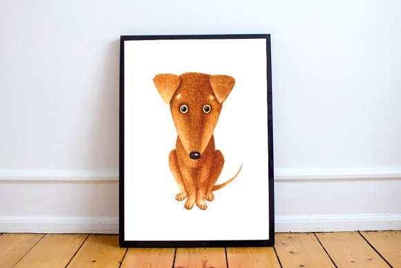 Cute Dog Illustration + Clip Art
