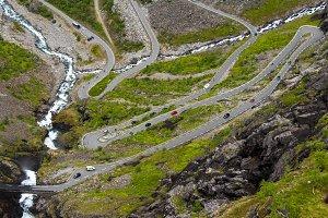 Trollstigen road aerial view