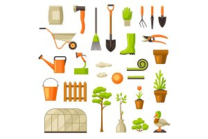 Set of garden tools and items. Season gardening illustration
