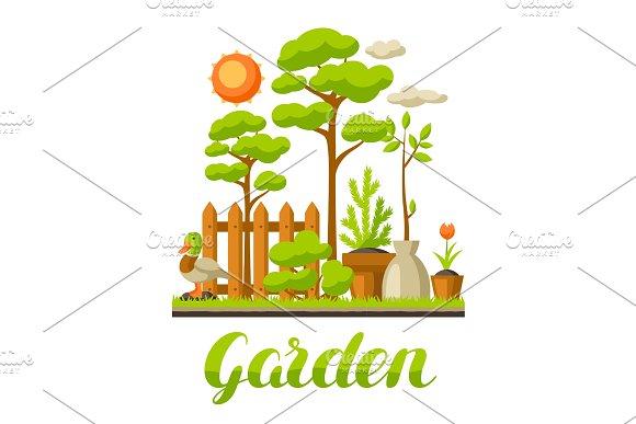 Garden landscape illustration with plants. Season gardening concept