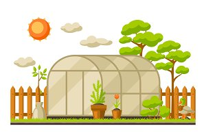 Garden landscape illustration with plants. Season gardening concept