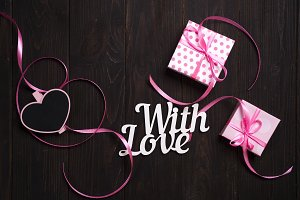 With love lettering and gift box