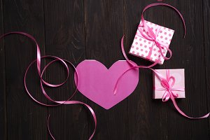 With love pink heart and gift box