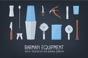 Seamless pattern,set bar equipments