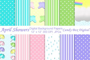 April Showers Digital Papers