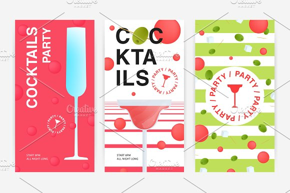 Set with cocktail party flyer