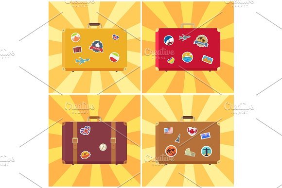 Suitcase Ready for Travelling Vector Illustration
