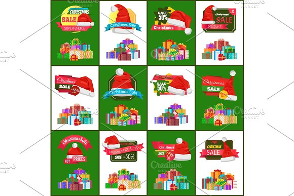 Big Set of Christmas Discounts Vector Illustration