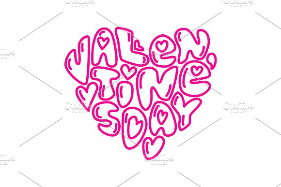 Cute fashion 80s style Happy Valentines Day typography lettering