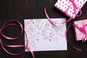 post card pink heart and gift box