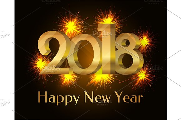 2018 Happy New Year Poster Vector Illustration
