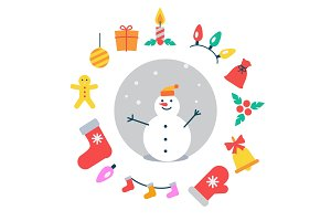 Snowman and Icons Around It Vector Illustration