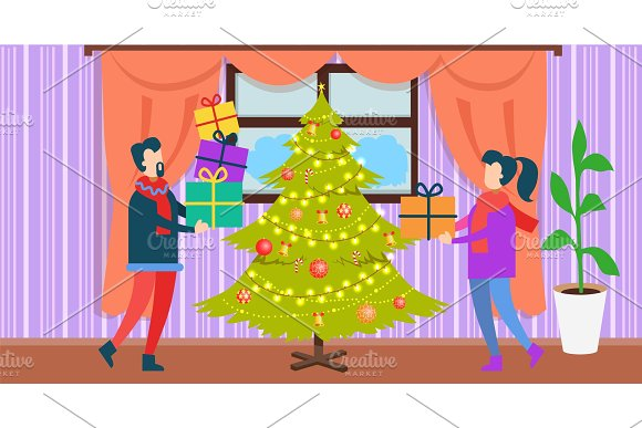People at Christmas at Home Vector Illustration