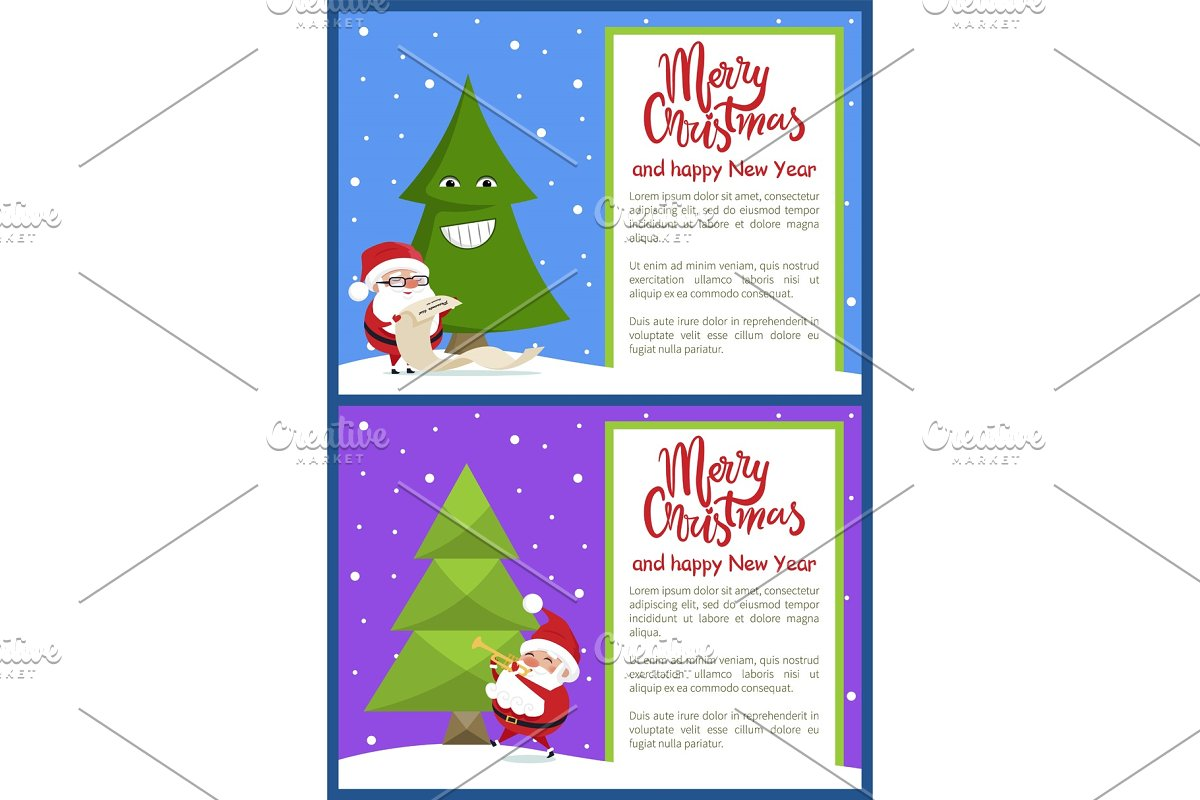 Merry Christmas Happy New Year Poster Santa Tree in Objects