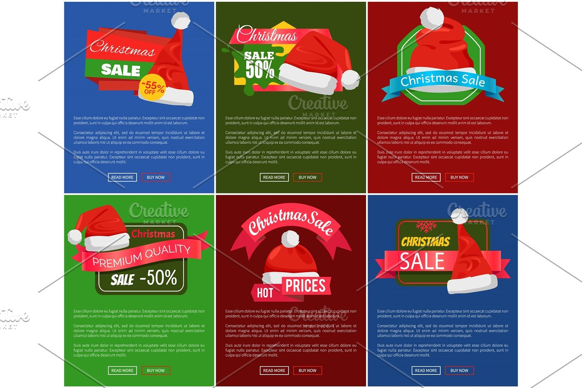 Six Christmas Sale 50 Percent Off Promo Posters