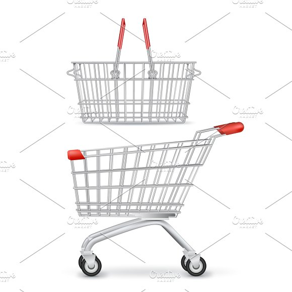 Wheeled Shopping Trolley And Basket  in Illustrations