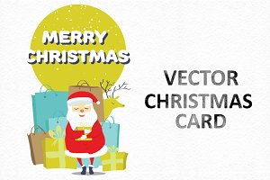 Vector Christmas card with Santa