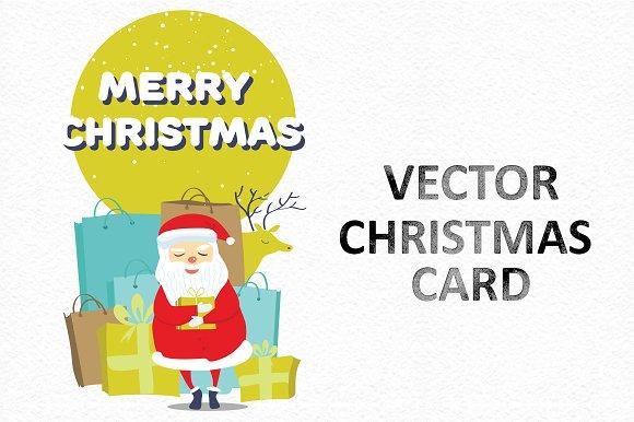 Vector Christmas card with Santa