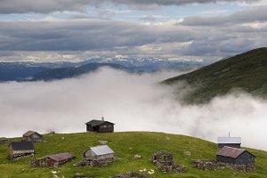 Farmhouses on the Aurlandsfjellet