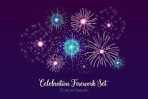 Set of fireworks bursting in sky