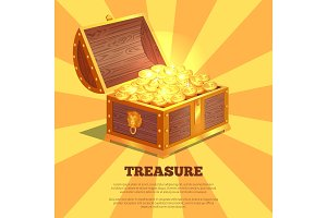 Treasure Bright Wooden Box Vector Illustration